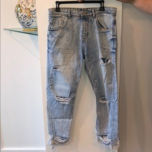 Zara Men Ripped Light Wash Jeans